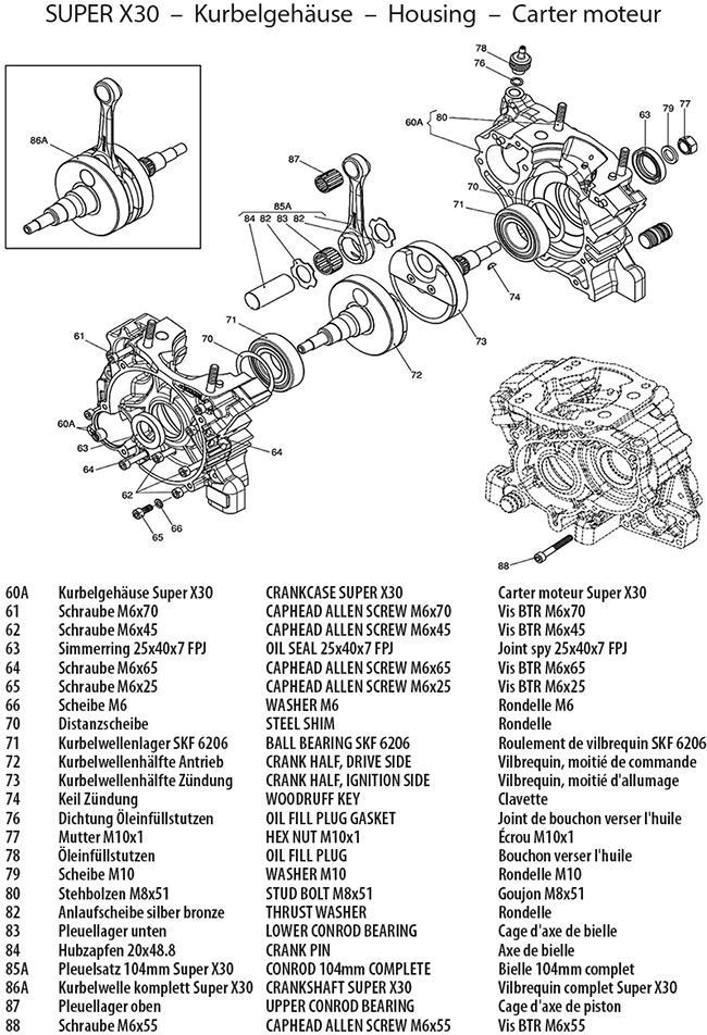 Kurbelwelle und -gehäuse Super X30