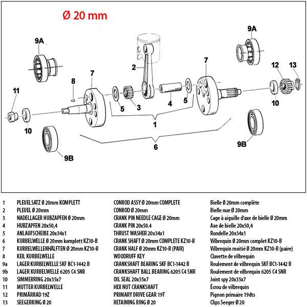 Kurbelwelle 20mm KZ10-B