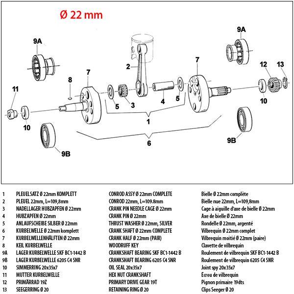 Kurbelwelle 22mm KZ10-B