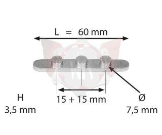 PASSFEDER MIT 3 STIFTEN ABSTAND 15+15mm