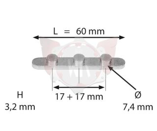 PASSFEDER MIT 3 STIFTEN ABSTAND 17+17mm